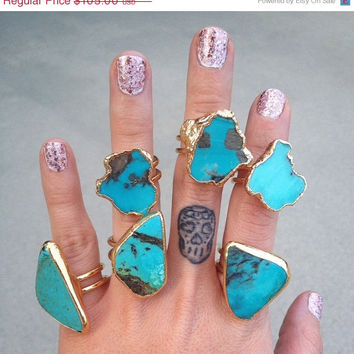 ON SALE GALAXY  /// Double Banded Turquoise ///  24 Gold Electroformed Ring /// Lux Divine