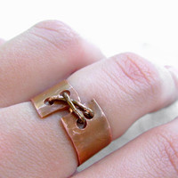 Stitch Ring - Copper Ring - Unique Quirky Ring - Rustic Ring - Corset Ring - Size 8 Ring - STEAMPUNK Collection