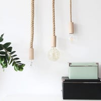 Wooden Handmade Rope Hanging Lamp Natural Jute Cord XL Edison Nautical Light Vintage Minimalist Pendant Fabric Cable