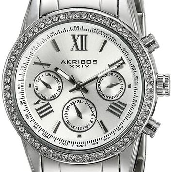 Akribos XXIV Women's AK872SS Round Silver Dial Crystal Accent Three Hand Quartz Bracelet Watch