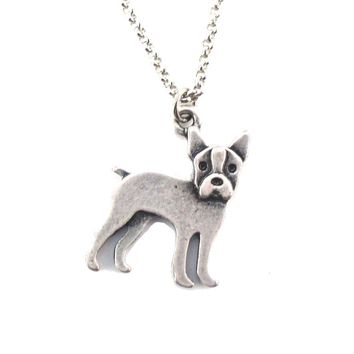 Boston Terrier Puppy Shaped Charm Necklace in Silver