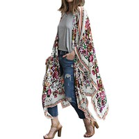 2017 Womens Summer Beach Cover Ups Asymmetric Hem Loose Floral Print Long Sleeve Kimono Casual Cardigans Jackets Tops Shirts