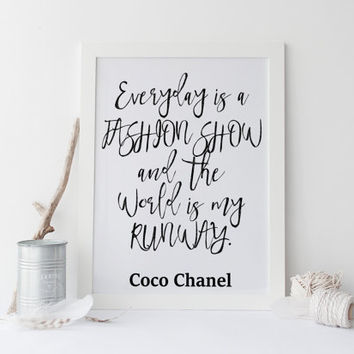 Coco Chanel Quote - Fashion quote, The world is my runway , Fashion print, art, illustration, Typography, gold coco chanel print,decor