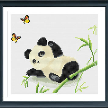 Baby Panda Cross Stitch Pattern, Instant Download, Free shipping, Cross Stitch PDF, Cross Stitch Animal, D02411