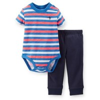 Carter's® 2-Piece Neon Stripe Short Sleeve Bodysuit and Cuffed Pant Set in Blue/Coral