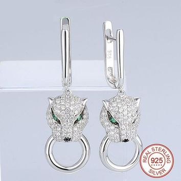 Panther Spinels Earrings 925 Sterling Silver