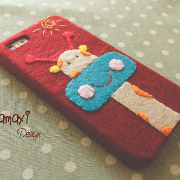 Handmade Phone Case, Felt Fabric iPhone 4/4S Case, Handmade Felt Fabric iPhone 5/5S/5C Case / Cute Cartoon Giraffe Phone Case