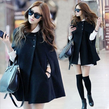 2015 Women's Batwing Cape Wool Poncho Coat Jacket Winter Warm Coat = 1946672452