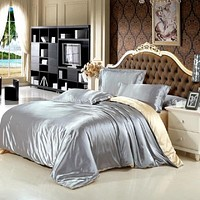 silk feel satin plain solid coffee silver pink purple bedding set queen size duvet cover set bedclothes bed sheet set