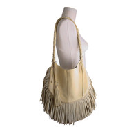 Fringe Hobo Bag , Leather , palomino yellow , black , brown , cream , FRANGIA BAG