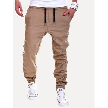 Mens Drawstring Jogger Pants in Khaki