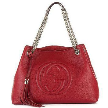 CREYIX5 Gucci Womens Soho Leather Chain Straps Shoulder Handbag Red Large