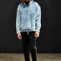 UO Bleached Denim Mock Neck Pullover Shirt - Urban Outfitters