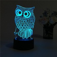 USB Creative Owl 3D Night Light Lighting Change LED Table Desk Lamp Xmas Fashion Veilleuse