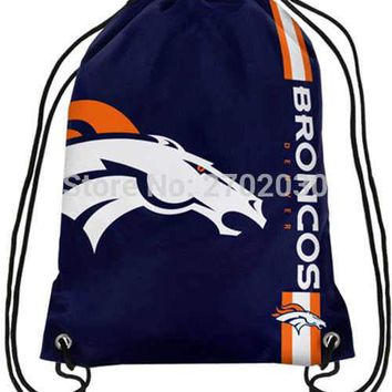 Denver Broncos Drawstring Bags Men Sports Backpack Digital Printing Pouch Customize Bags 35*45cm Sports National Fottball Team