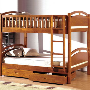 Furniture of america CM-BK600A California i oak wood finish mission style twin over twin bunk bed with front access ladder