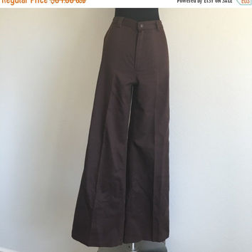 HALF OFF Vintage 1970s Brown High Waist Flare Dittos Pants S/M 29W