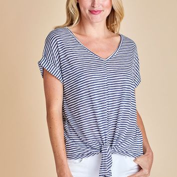 Six Fifty Stripe Tie Front Top