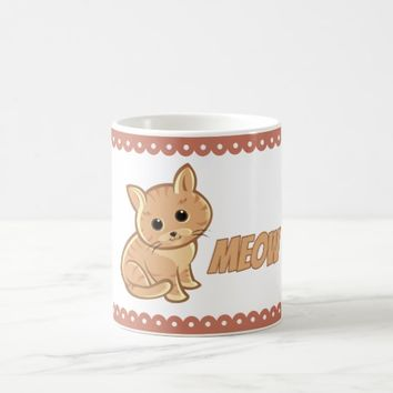 Tan Brown Cute Cat Classic Mug
