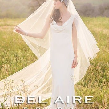 Bel Aire V7234 Fold Over Cut Edge Cathedral Veil