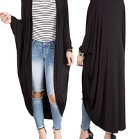 Black Long Casual Loose Batwing Cardigan