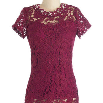 ModCloth Mid-length Short Sleeves Graceful Air Top in Magenta