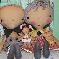 Mother's Day gifts- grandparents grandma gifts Raggedy Ann and Andy set with one grandchild