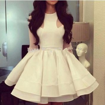 MGS New White Tank Scoop Full Sleeve Cocktail Dresses 2016 A Line Organza Tiered Prom Gowns Vestido De Festa Curto