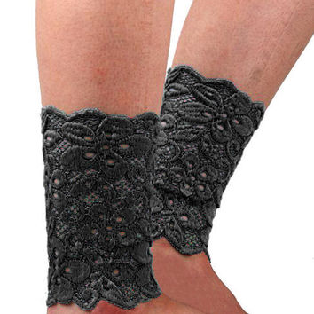 Black Scallop Crochet Lace Leg Warmers