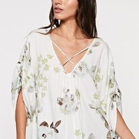 Rolled Sleeve Floral Top with Cross Front