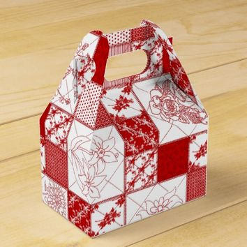 Redwork Stitched Flowers Quilt-Gable Favor Boxes