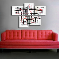 """Original abstract painting. 5 piece canvas art. 29x41"""" Large painting with on black and white with red details. Large painting"""