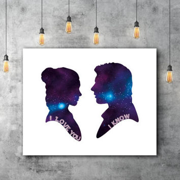 Han And Leia I Love You I Know Funny Star Wars Han Solo Art, Star Wars Princess Leia Han Solo Poster, Star Wars Leia Silhouette Art