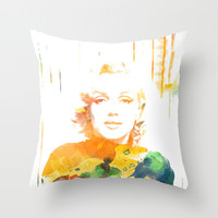 Marilyn WaterColors Throw Pillow by Maioriz Home