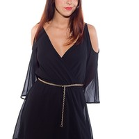 Miss Avenue Throw Back Theme Open Shoulder Belted Chiffon Dress - Black