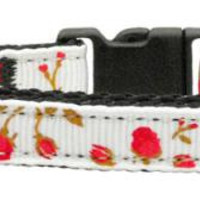 Roses Nylon Ribbon Collar Red Cat Safety
