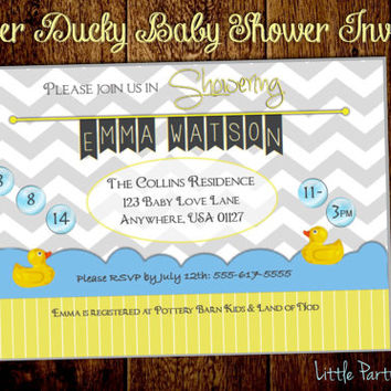 Rubber Ducky Baby Shower Invitations-Printable, duck baby shower invites by Little Party that Could on Etsy