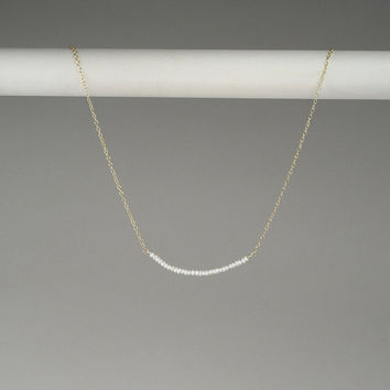 Teenie Tiny Seed Pearl Line Necklace Small Delicate Freshwater Fine Dainty Simple Single Everyday Layering Floating 14kt Gold Filled Genuine