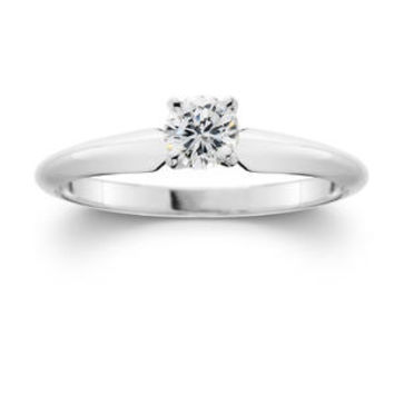 10K White Gold 1/4 CTTW Certified Diamond Round Solitaire Ring - Kmart