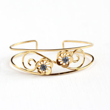 Vintage 12k Yellow Gold Filled Blue Rhinestone Flower Bracelet - 1940s Small Petite Filigree Floral Vine Cuff Van Dell Jewelry