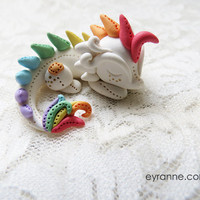 Cute Dragon Figurine / Pastel Rainbow Dragon Sculpture / Tiny Dragon Sculpture /  Polymer Clay Dragon