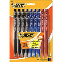 Bic BU3 Retractable Ballpoint Pens, Medium 1.0mm, Assorted, 18/Pack | Staples®