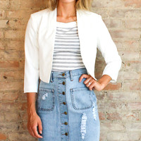 Anette Cropped Jacket - Off White