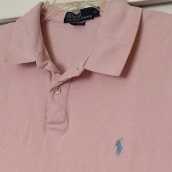 Sale!! Vintage Polo by Ralph Lauren pink casual cotton Polo shirt size Medium Free shi