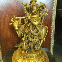 Brass Krishna Statue Playing Flute with Cow