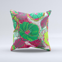 Bright Pink and Green Flowers Ink-Fuzed Decorative Throw Pillow