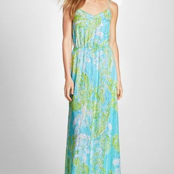 Women's Lilly Pulitzer 'Deanna' Metallic Print Silk Maxi Dress,