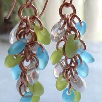 Copper Earrings Sea Glass Colored Chain Maille Shaggy Loops