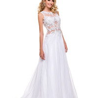 White Floor Length Cutout Chiffon Gown 2015 Prom Dresses