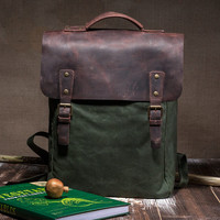 Waxed canvas backpack - a green rucksack with leather cover - rucksack backpack - comfortable shoulderstraps - waterproof backpack